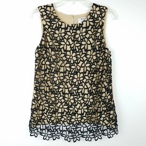 Womens Sleeveless Floral Crochet Lace Tank Top